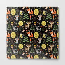 Cute Colorful Wood Animals In Forest Metal Print