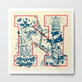 N for Nautical Metal Print