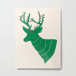 Green Stag Metal Print