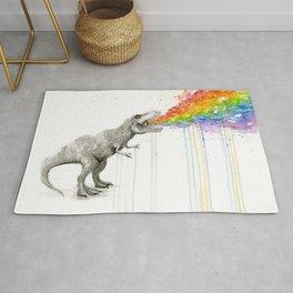 T-Rex Rainbow Puke - Facing Right Rug