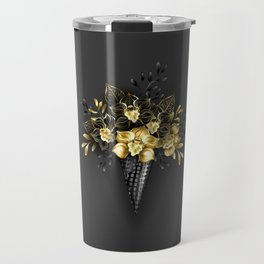 Waffle Cone with Black Golden Orchids Travel Mug