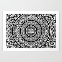"Hypnotic Dotwork Flower Of Life Mandala - ""Barriers"" Art Print"