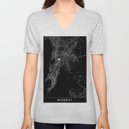 Mumbai Black Map Unisex V-Neck