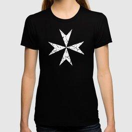 Damaged Templar White stencil T-shirt