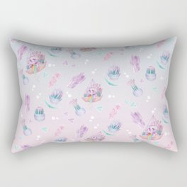 Rainbow Skull Succulent Crystal Garden Pattern Rectangular Pillow
