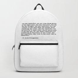 F.Scott Fitzgerald - She was beautiful Backpack