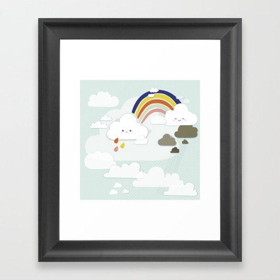 Cute clouds & rainbow Framed Art Print