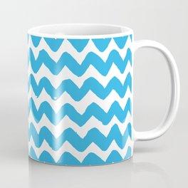 Blue Brushstroke Chevron Pattern Coffee Mug