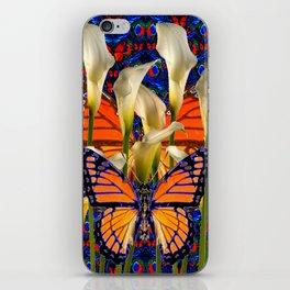 DECORATIVE WHITE CALLA LILIES & MONARCH BUTTERFLY GARDEN COLLAGE iPhone Skin