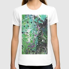 Abstract Painting. Acrylic Pour. Green Land. T-shirt