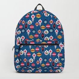 Retro Christmas Baubles on a dark background Backpack