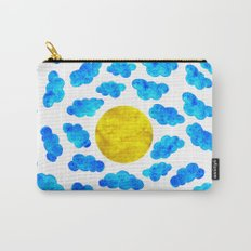 Cute blue cartoon clouds and sun. Carry-All Pouch