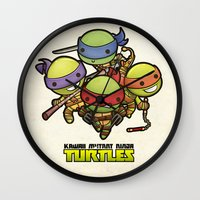 ninja turtles Wall Clocks featuring Kawaii Mutant Ninja Turtles by Squid&Pig