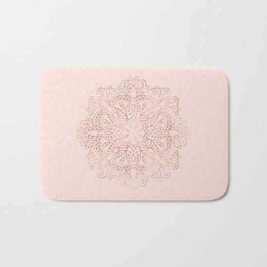 Mandala Rose Gold Pink Shimmer on Blush Pink Bath Mat