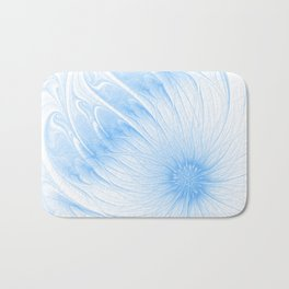 Blue White Flower | Abstract digital painting, cute floral pattern, pretty pastel flowers Bath Mat