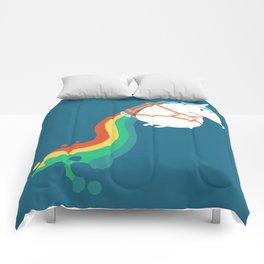 Fat Unicorn on Rainbow Jetpack Comforters