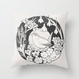 Spring Wren Throw Pillow