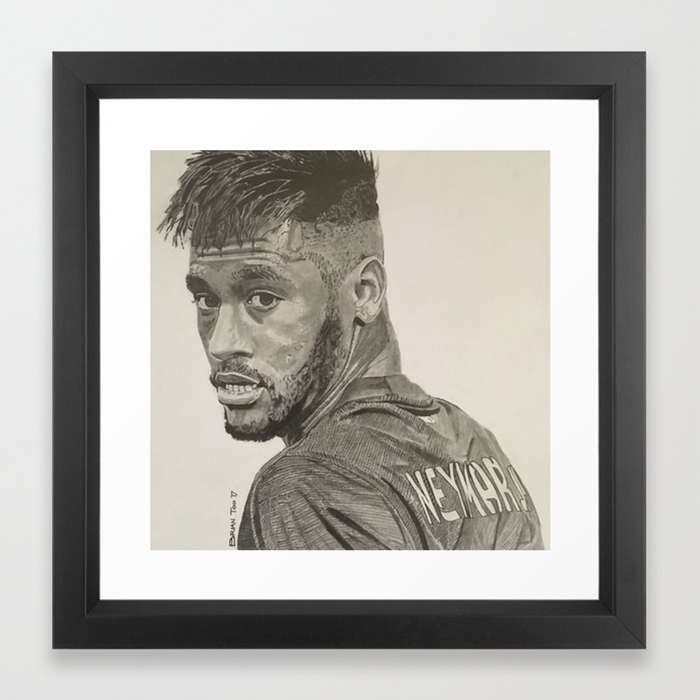 Neymar jr graphite pencil drawing framed art print