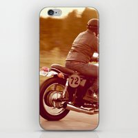 cafe racer iPhone & iPod Skins featuring Vintage cafe racer by gabyjalbert