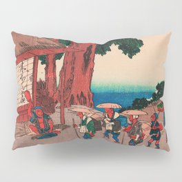 Travelers at Minakuchi station Japan Pillow Sham