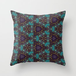 Navy Turquoise Geometric Mosaic - Abstract Art by Fluid Nature Throw Pillow
