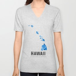 Hawaii - State Map Art - Abstract Map - Blue Unisex V-Neck