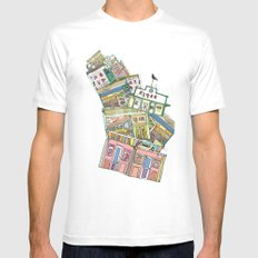 old houses White MEDIUM Mens Fitted Tee