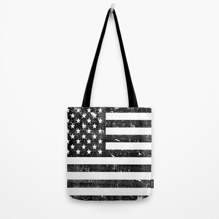 Dirty Vintage Black and White American Flag Tote Bag