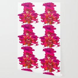 IVORY CALLA LILIES AGAINST FUCHSIA PURPLE FLORALS ART Wallpaper