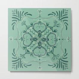 Green Abstract Monkey Tile Metal Print