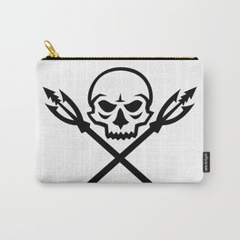 Human Skull Crossed Fishing Spear Mascot Carry-All Pouch