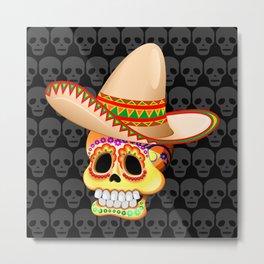 Mexico Sugar Skull with Sombrero Metal Print