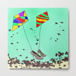 Flying Kites in May with May - shoes stories Metal Print