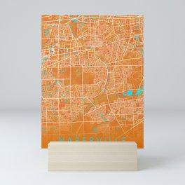 Naperville, IL, USA, Gold, Blue, City, Map Mini Art Print