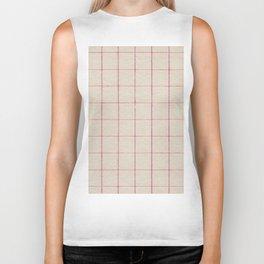 Geometric pink white vintage stripes pattern Biker Tank