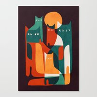 family Canvas Prints featuring Cat Family by Picomodi