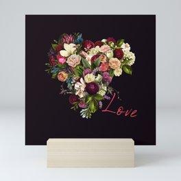 Moody romantic red love script flowers heart shape on dark purple indigo Mini Art Print