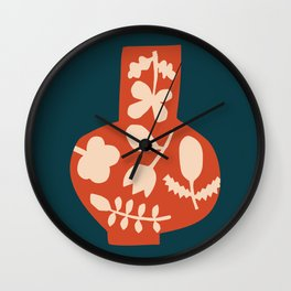 Floral Vase | Blue, Red, + Peach Wall Clock