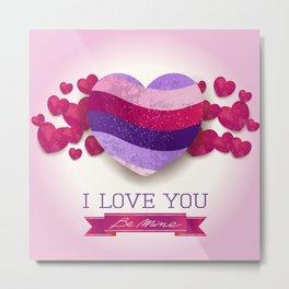 Love heart in ultra violet Metal Print
