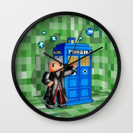 8bit 12th Doctor with Blue Phone box iPhone 4 4s 5 5c 6, pillow case, mugs and tshirt Wall Clock