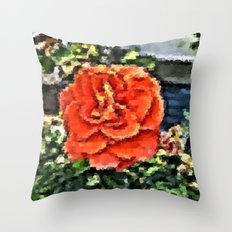 orange rose painted with many small colorful brush Throw Pillow