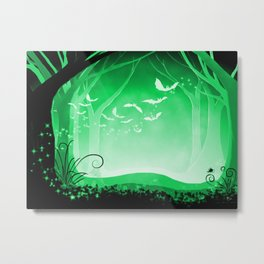 Dark Forest at Dawn in Emerald Metal Print