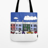 marc johns Tote Bags featuring St Johns Terrace, Lewes by Richard Ellis