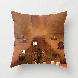 Chocolate Waterfall Bunny Boat Throw Pillow