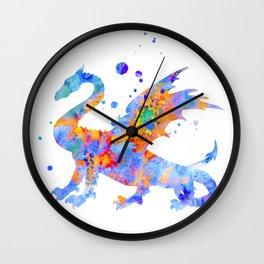 Dragon Watercolor Painting Wall Clock