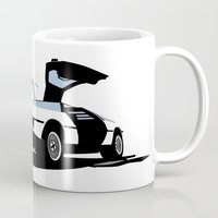 delorean Mugs featuring Delorean - Ghost Image 1 by Geoff Ombao Car Art