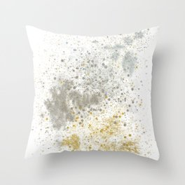Bronze, Gold and Silver Shimmering Splatter Throw Pillow