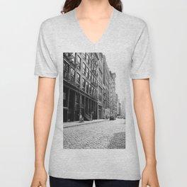 Soho - New York City - Afternoon Light and Cobblestones Unisex V-Neck