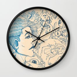 Blue and White Ideas and doodles Wall Clock
