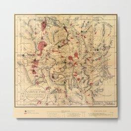 Map Of Yellowstone 1881 Metal Print